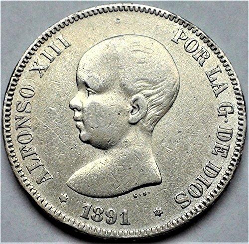 ES 1888-92 European Toddler King Alfonso XIII of Spain Antique Crown Silver Coin 5 Pesetas Good