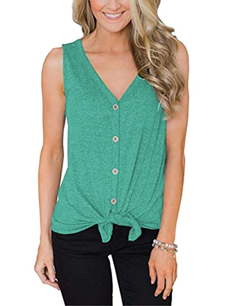 cf7cf653 Barlver Womens Button Down Long Tank Tops Tie Front Summer Casual V Neck  Sleeveless Tunic Shirts