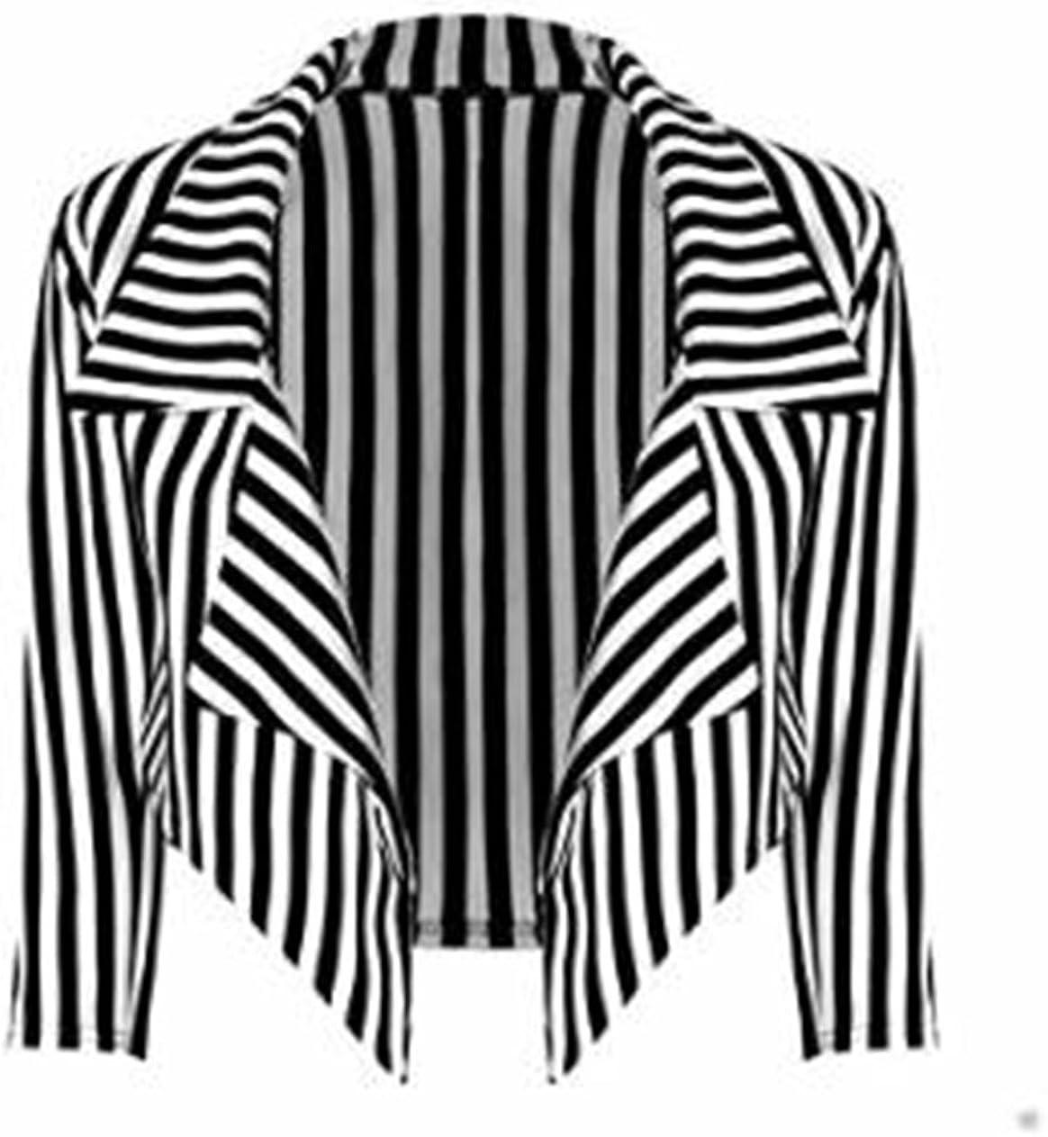 Fashion Essentials- Women's Stripe Print Waterfall Style 3/4 Sleeve Crop Blazer Jacket Black White