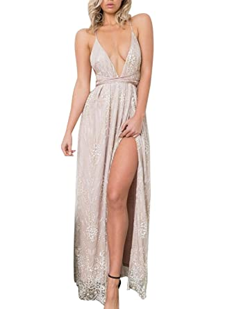 LILY ROSIE GIRL Women Sequin Bridesmaid Dress Sleeveless Slit Maxi Evening Prom Dresses