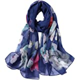 Smi&Love 100% Mulberry Silk Scarf,Chiffon Shawl,Elegant Fashion Floral Scarves
