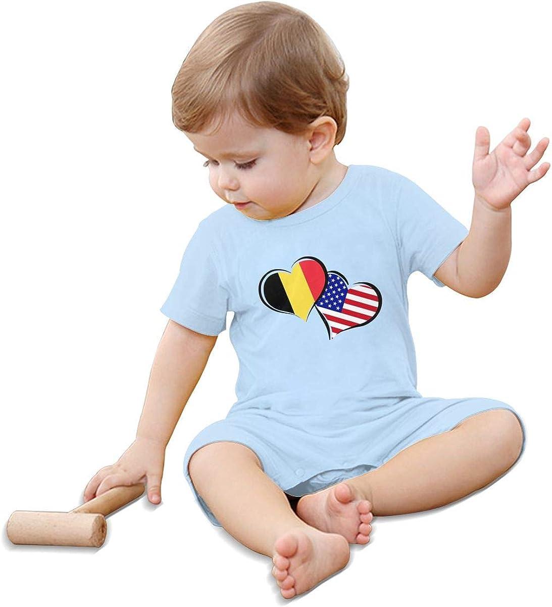 Baby Girl Bodysuits Belgium American Flag Hearts Love Infant Short Sleeve Romper Jumpsuit