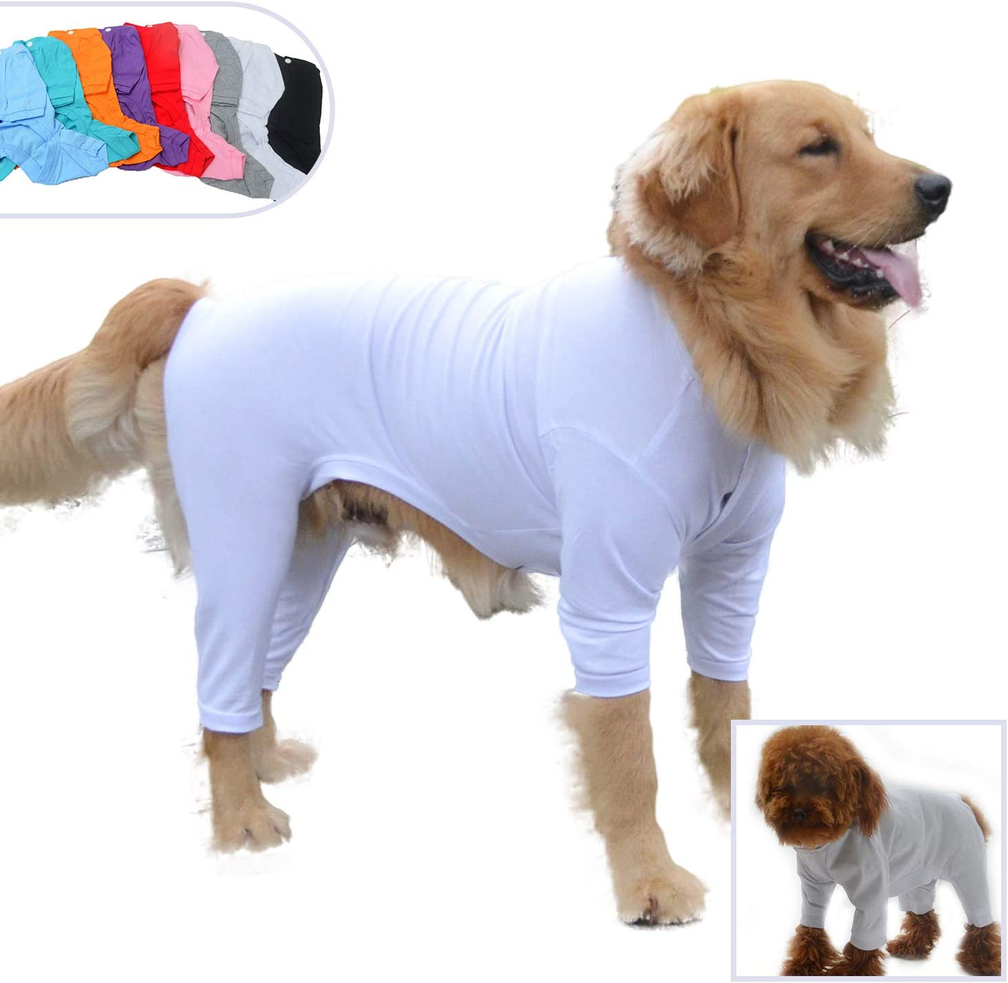 Pure Cotton Dog Jumpsuits 4 Legs Dog Onesies T-Shirt Stylish PJS Puppy Costume for Large Medium Small Dogs Black L lovelonglong Four Feet Dog Lightweight Pajamas