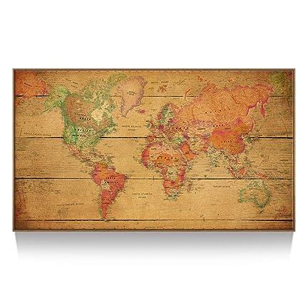 Large World Map Framed.Amazon Com Kreative Arts Large Size World Map Wall Art Natural