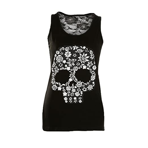 on feet shots of great quality usa cheap sale Prettymenny Plus Size Women Lace Sexy Skull Print Lace Back Tank Top