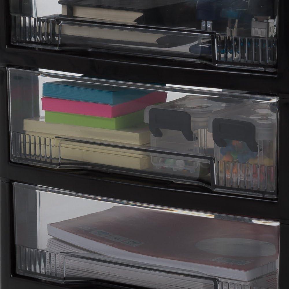 32 x 39 x 63 cm Negro // Transparente pl/ástico Estanter/ía de oficina con 3 Cajones ris Ohyama SCC-300
