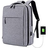 Manba Mochila antirrobo Mochila Daypack de 30L con Puerto de Carga USB Interfaz para Auriculares, Mochila Impermeable a Diario, Mochila para portátil de 12-16 Pulgadas, Estudiantes (Gris)
