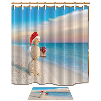Exceptionnel NYMB Christmas Shower Curtains, Sandy Snowman In Red Santa Claus Hat With  Gift At Ocean
