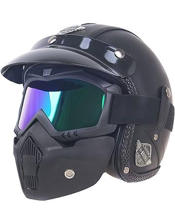 407be4ada31919 KKmoon Casque Retro Moto Full Face Helmet PU Cuir les Casques de Moto