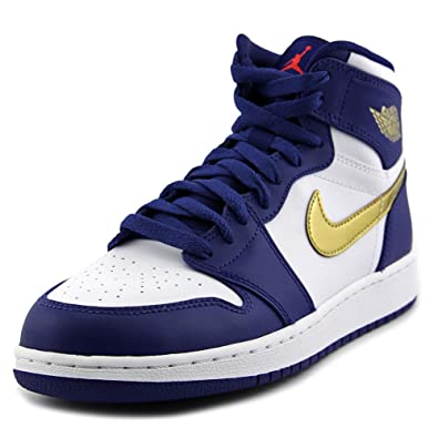 buy online 2b01d de447 Amazon.com  nike air jordan 1 retro high BG hi top trainers 705300  sneakers shoes (6.5 M US Big Kid, deep royal blue metallic gold coin 406)   Basketball
