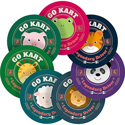 Childrens Go Karting - Cute Animals Go Karting Reward Sticker Labels, 70 Stickers @ 1