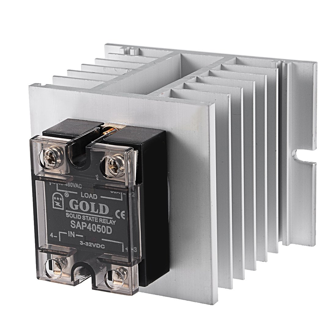 uxcell SAP4050D+G80 3-32VDC to 40-480VAC 50A Single Phase Solid State Relay Module DC to AC