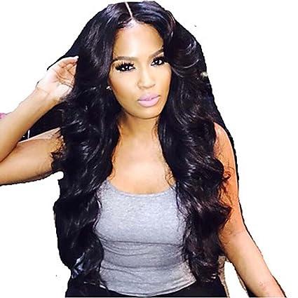 MZP Mujer Pelucas de Cabello Natural Cabello humano 130% Densidad Ondulado Peluca Negro Corto Medio