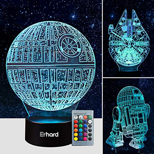 3D Led Illusion Lamp Star Wars Night Light - Three Pattern and 7 Color Change Decor Lamp with Remote Control - Perfect Gifts for Kids and Star Wars Fans by Erhard