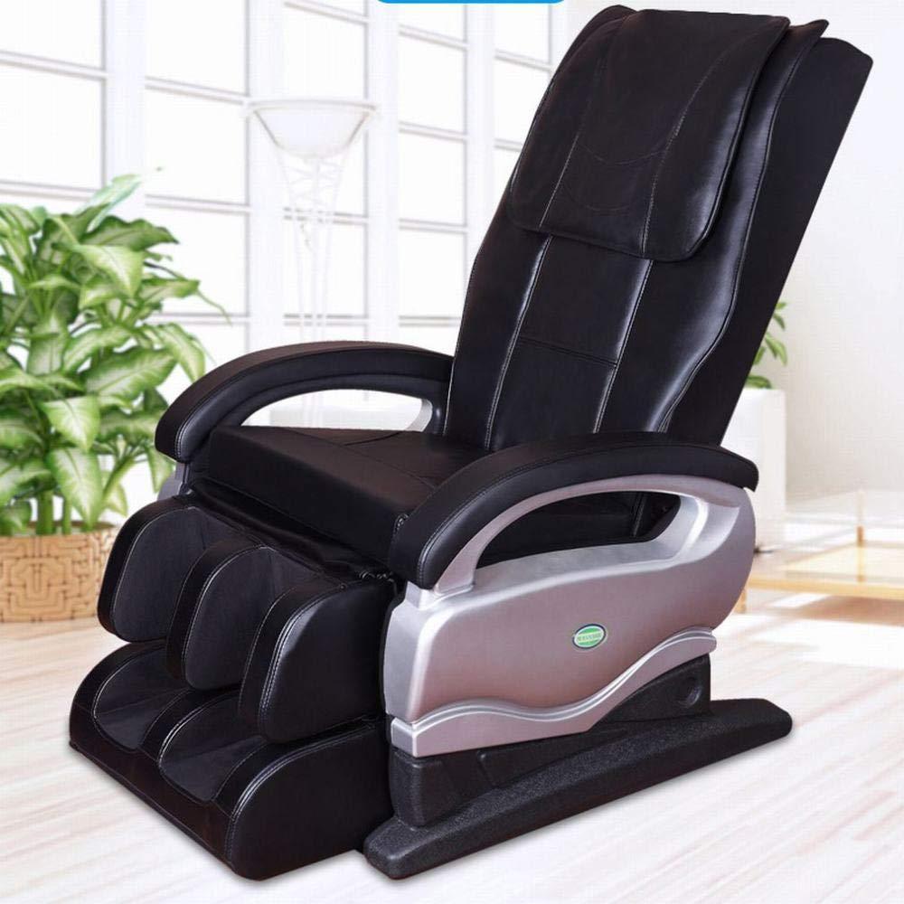 Z&J Luxus Reclining Leder Massagestuhl Automatische Schwerelosigkeit Relax Stuhl Multifunktionale Ganzkörpermassager Massagestuhl Teilen,Schwarz,Einheitsgröße