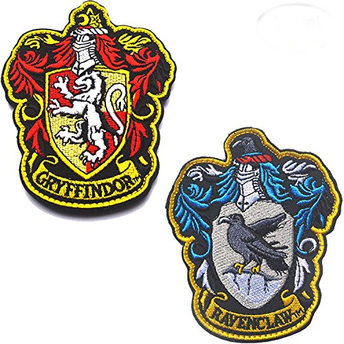 Harry Potter House of Ravenclaw and Gryffindor Hogwarts Crest Patch Full Color Iron-On Patches Applique for Coat Jacket Gear Cap Hat Backpack 3.94