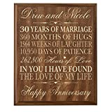 LifeSong Milestones Personalized 30th Wedding Anniversary Gift for Couple, Custom Made 12 Inches Wx 16 Inches H (Walnut)
