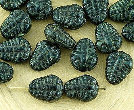 6pcs Picasso Flat Trilobite Fossil Marine New Shape Halloween Czech Glass Bea...