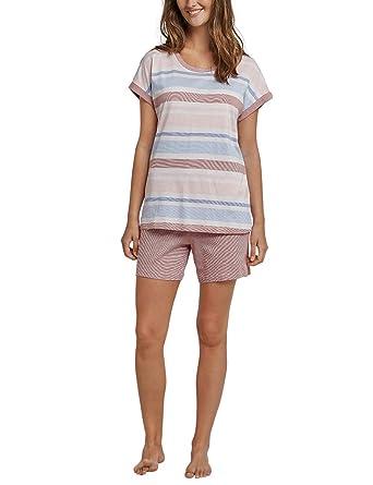 bd223351e7 Schiesser Damen Anzug kurz, 1/4 Arm Zweiteiliger Schlafanzug, Rot  (Terracotta 532