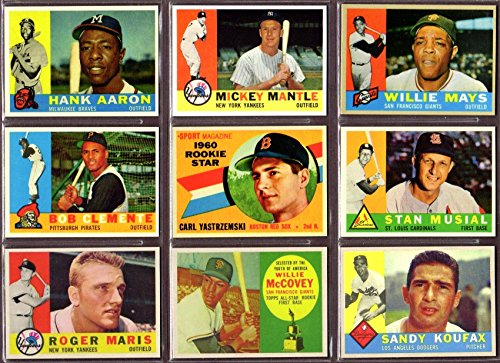 - 1960 Topps Baseball (9) Card Reprint Lot (Hank Aaron) (Mickey Mantle) (Willie Mays) (Roberto Clemente) (Carl Yastrzemski Rookie) (Stan Musial) (Roger Maris) (Willie McCovey Rookie) (Sandy Koufax)