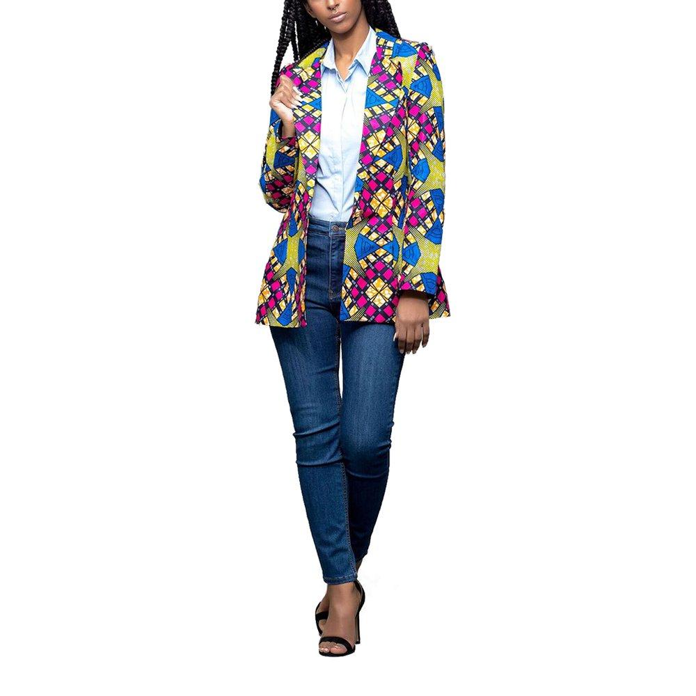 Lrud Women's Casual Long Sleeve Dashiki African Floral Print Blazer Jacket Coat Suits Blue S by Lrud (Image #4)