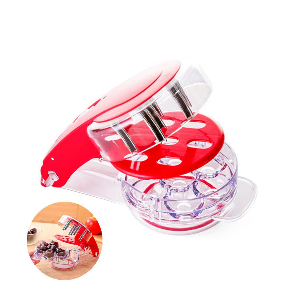 Locisne 6 Cherry/Olive Stoner, Home Kitchen Tool Handheld Cherry Pitter Corer Olives Pit Easy Removal Core Squeeze Clamp Seeder (white)