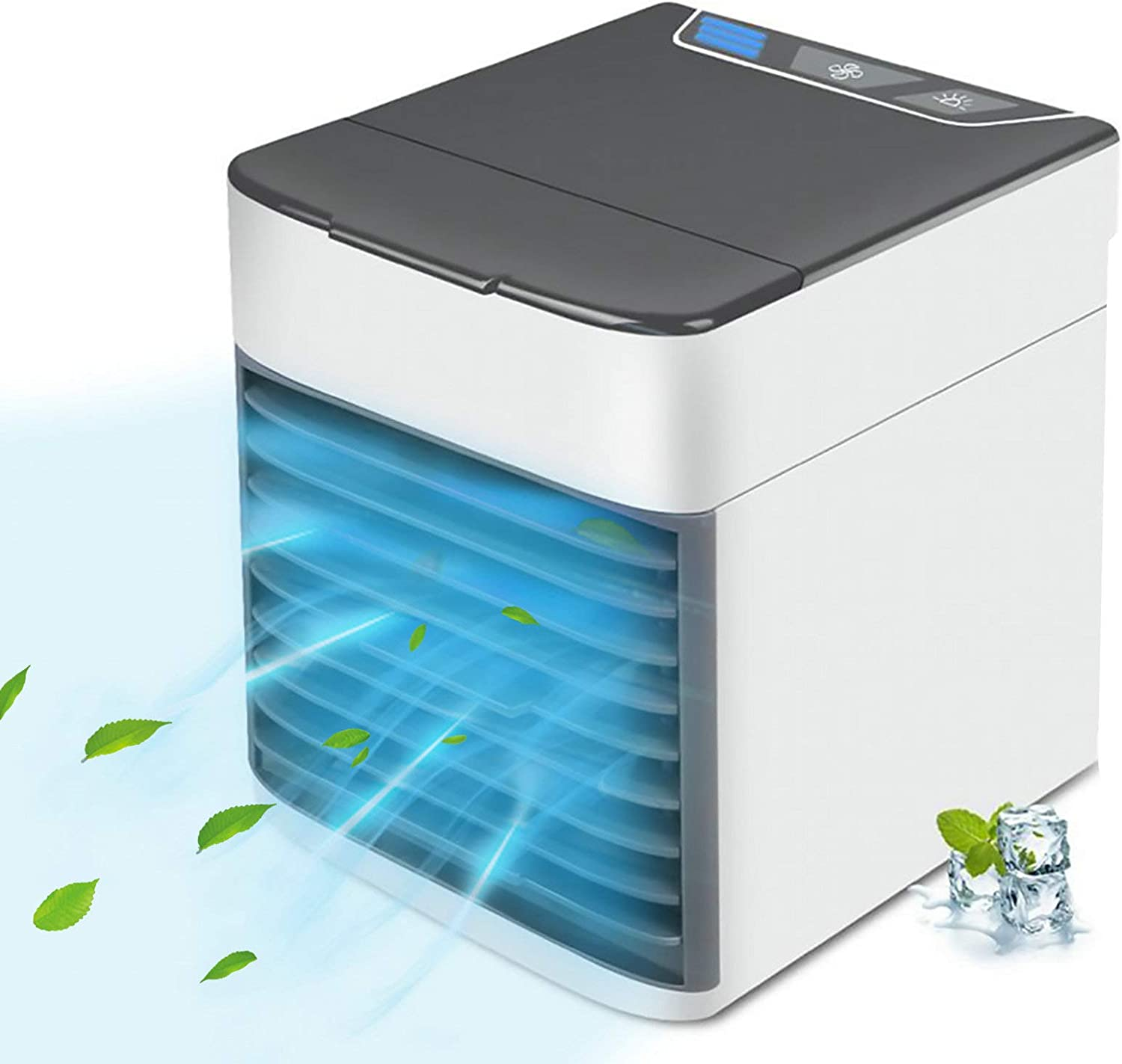 Personal Air Conditioner, Quiet USB Air Cooler with 3-Speed, Mini Air Conditioner with LED Light, Portable Air Conditioner for Small Room/Office/Dorm/Bedroom