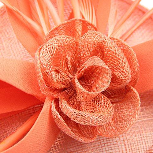 FeiYu Crafts Feather Fascinator With Diamond Fascinator Hat (A-Coral) by FeiYu Crafts (Image #3)