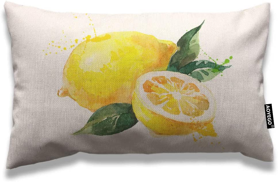AOYEGO Lemon Throw Pillow Cover 12x20 Inch Nature Watercolor Summer Fruit Lemons Slice Leaves Rectangle Pillow Cases Home Decorative Cotton Linen Cushion Cover for Bed Sofa Yellow Green