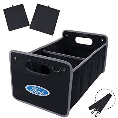 KRADA Auto Car Cargo Trunk Organizer for Ford Black Oxford Collapsible Portable Multi Compartments Storage Container Trunk Organizer: Automotive
