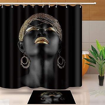 Afro Africano Negro Mujer Belleza Baño Cortina de ducha de tela Impermeable Forro