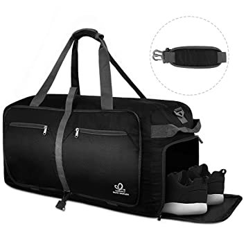 d604e4761530 WATERFLY 60L Travel Duffle Foldable Bag Luggage Bag with Shoe Compartment  for Men Women Carryall duffel bag Waterproof