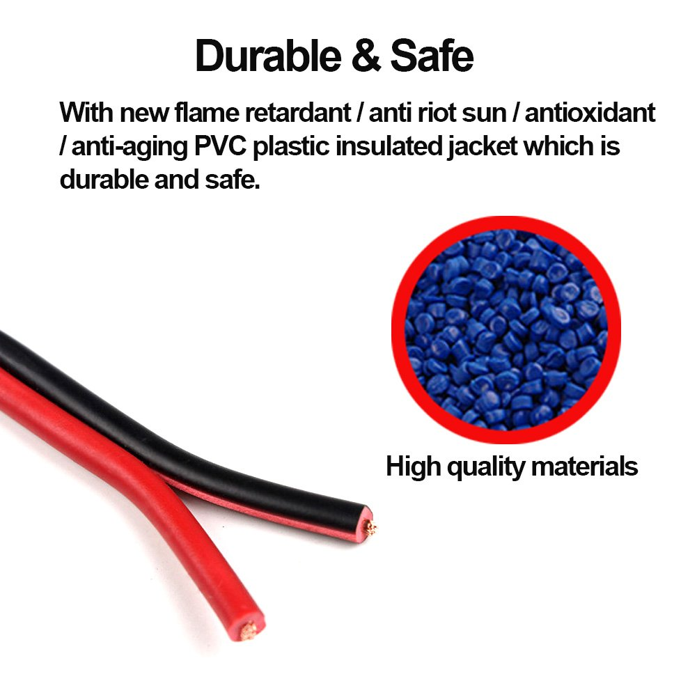 30ft 18 Awg Gauge Electrical Wire Premium Dc 12v Hookup Red Black Jacket Wiring Harness Copper Stranded Auto 2 Cord Flexible Extension Cable With Spool For Led Ribbon Lamp