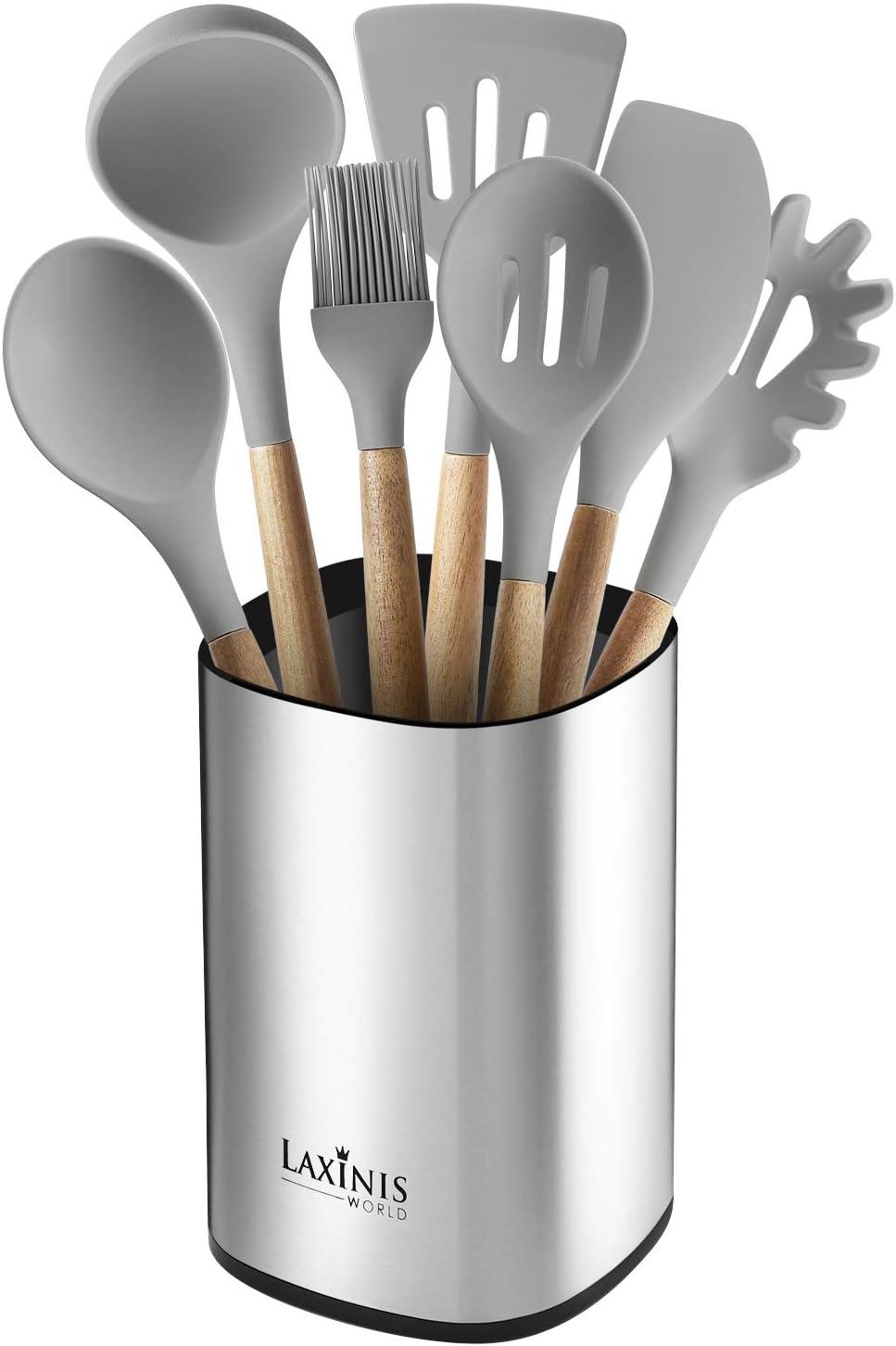 "Stainless Steel Kitchen Utensil Holder, Kitchen Caddy, Large Utensil Organizer, Modern Rectangular Design, 6.1"" by 5"" Utensils Crock"