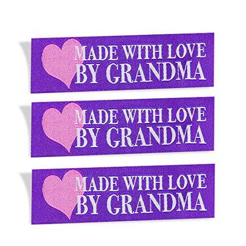 Wunderlabel Made with Love by Grandma Nana Grandmother Heart Crafting Fashion Woven Ribbon Ribbons Tag Clothing Sew Clothes Garment Fabric Material Embroidered Tags, Blue on White on Purple, 25 Labels by Wunderlabel