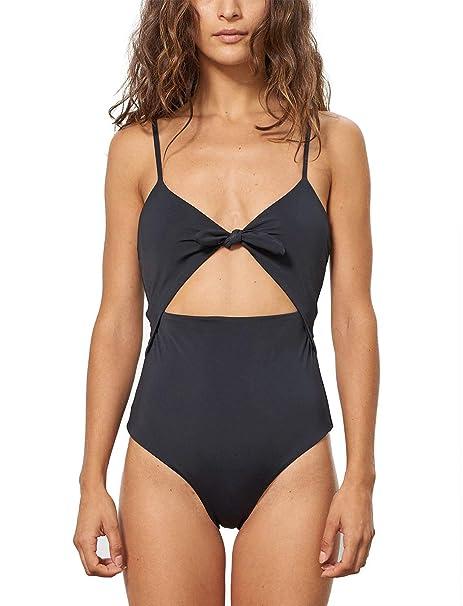 4a0d0c6d290 Women High Waisted Swimsuit Cutout Tie Front One Piece Bathing Suits Black
