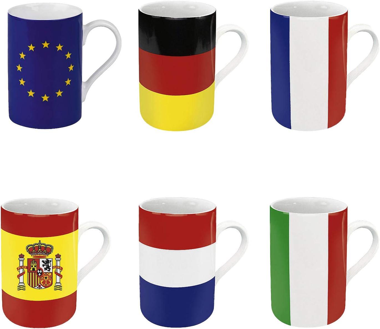 Könitz 6 TLG. Juego de Tazas de café, diseño de Bandera de Europa: Amazon.es: Hogar