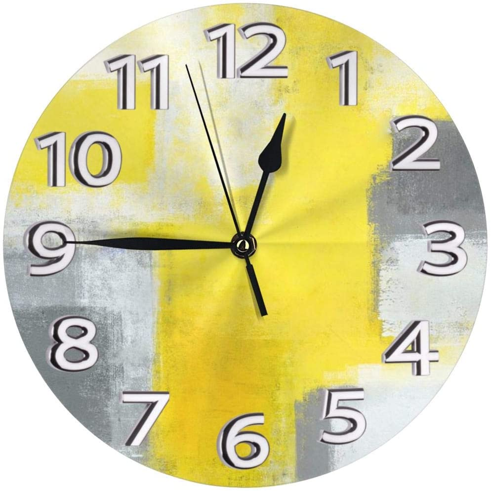 Mooneyenton Grey and Yellow Abstract Art Painting White Wall Clock, Silent Non-Ticking Quality Quartz Battery Operated Wall Clock - 10 Inch Round Easy to Read Decorative for Home Office School