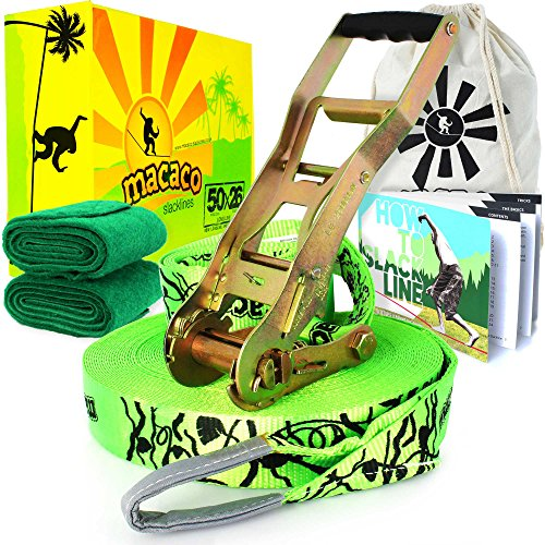 Macaco Slackline 85ft (26m) Long (2in Wide) Incl Ratchet, Bag and 'How to Slackline' Booklet! by Macaco