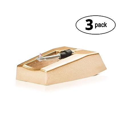 Aguja de tocadiscos de repuesto w/Diamond punta - 3 unidades ...