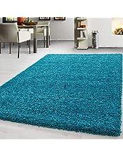 Shaggy vloerkleed moderne enkelkleurige hoogpolige woonkamer vloerkleden, Afmetingen:80 cm x 150 cm, Kleur:Turkoois