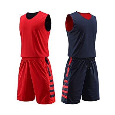 8f109a34c Amazon.com  yingfeg bb Reversible Basketball Jersey and Shorts Set Two  Sides Wear Basketball Uniforms for Men  Clothing