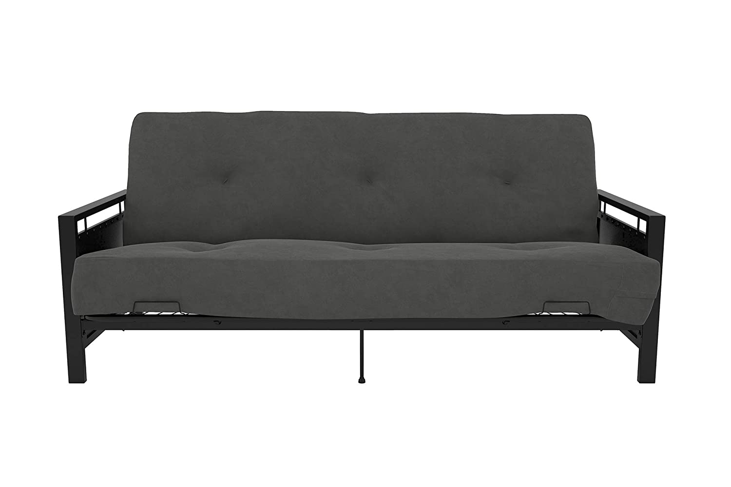 DHP Henley Metal Arm Futon Frame, Industrial Loft Design, Converts to Sleeper, Black Sturdy Metal 2185059