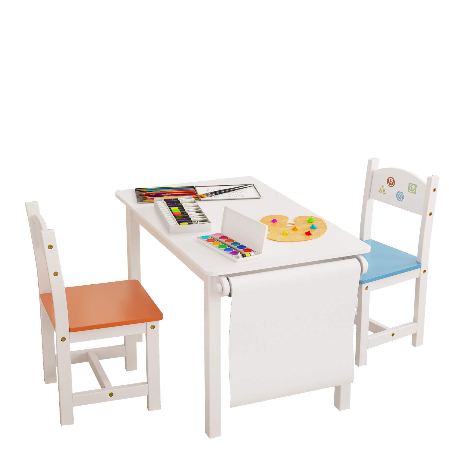 Homfa Kids Wooden Table and 2 Chair Set, 3-in-1 Kids Toddler Furniture Set Craft Table with Drawing Paper Rack for Dining Painting Reading Playroom Safe and Sturdy, White by Homfa