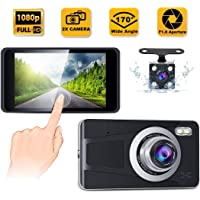 """CREUSA® Dash Cam, 4"""" IPS Touch Screen Full HD 1080p Resolution Dash Camera for Car with 170° Wide Angle, Super Night…"""