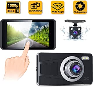 "CREUSA® Dash Cam, 4"" IPS Touch Screen Full HD 1080p Resolution Dash Camera for Car with 170° Wide Angle, Super Night Vision, G-Sensor, Parking Monitor, Loop Recording and Motion Detection (Black)"