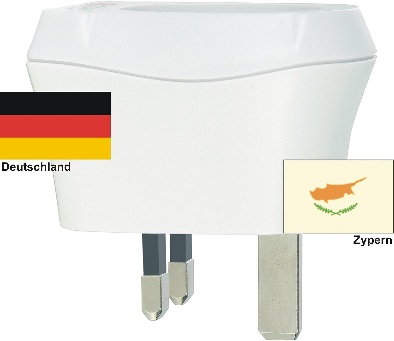 Design Reisestecker Adapter für Zypern auf Deutschland, Schukostecker 230V,Umwandlungsstecker CY-D Reise-net
