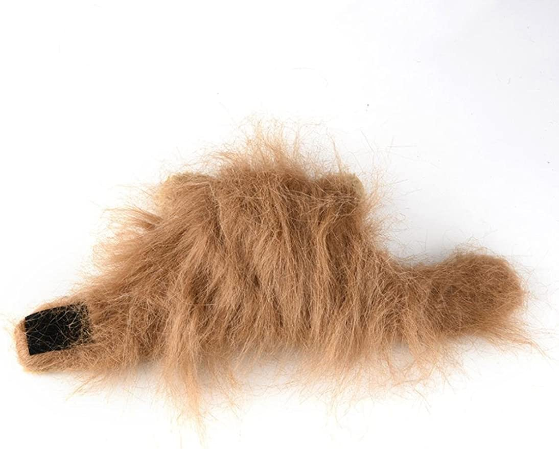 Brown Suppion Furry Pet Hat Costume Lion Mane Wig for Cat Halloween Dress up with Ears Party