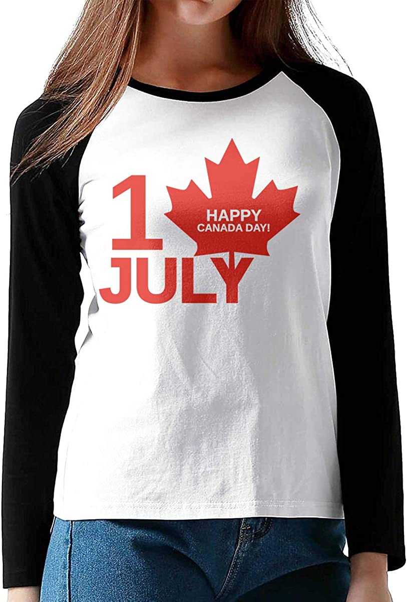 Happy Canada Day Girls Raglan Shirt Fit Baseball Tee Raglan T-Shirts