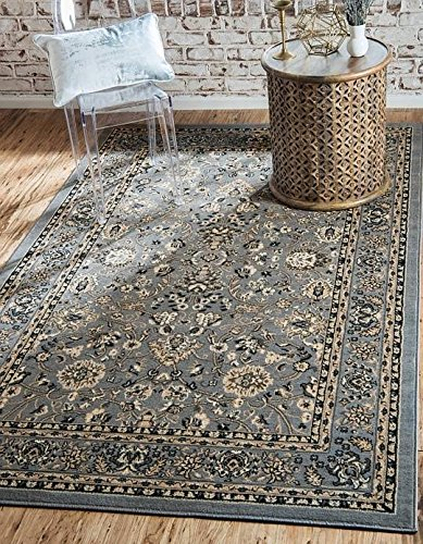 Unique Loom Kashan Collection Gray 5 x 8 Area Rug (5' x 8')